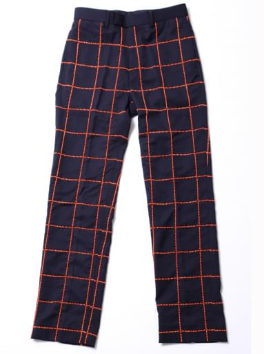 STUDS EMBROIDERY TROUSERS/NAVY/ORANGE